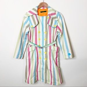 Oilily Girls Colorful Striped Belted Trench Coat